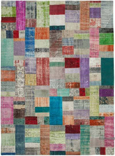 """Hand-knotted Turkish Patchwork Rug - 8' 11"""" x 12' 1"""" (107 in. x 145 in.)"""