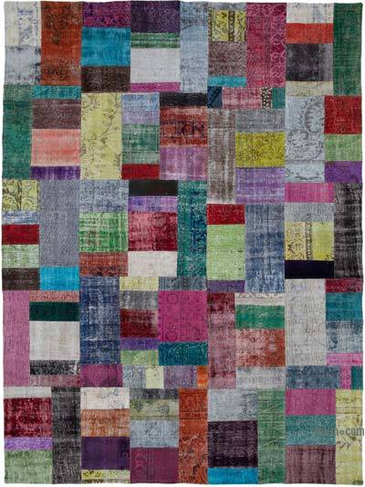 "Hand-knotted Turkish Patchwork Rug - 8' 11"" x 12'  (107 in. x 144 in.)"