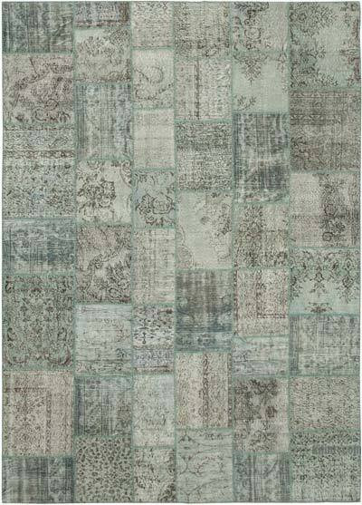 """Blue Patchwork Hand-Knotted Turkish Rug - 8' 2"""" x 11' 6"""" (98 in. x 138 in.)"""