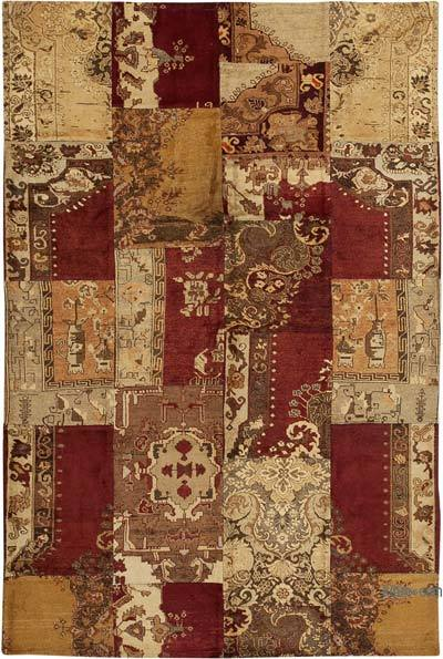 "Hand-knotted Turkish Patchwork Rug - 7' 8"" x 11' 7"" (92 in. x 139 in.)"