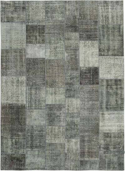 """Grey Patchwork Hand-Knotted Turkish Rug - 8' 2"""" x 11' 4"""" (98 in. x 136 in.)"""