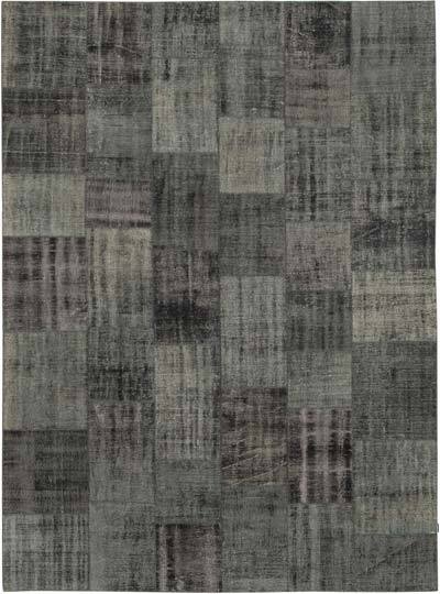 """Black Patchwork Hand-Knotted Turkish Rug - 8' 5"""" x 11' 6"""" (101 in. x 138 in.)"""
