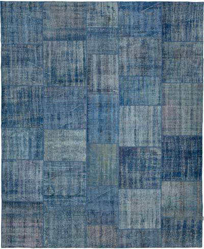 """Patchwork Hand-Knotted Turkish Rug - 7' 11"""" x 9' 9"""" (95 in. x 117 in.)"""