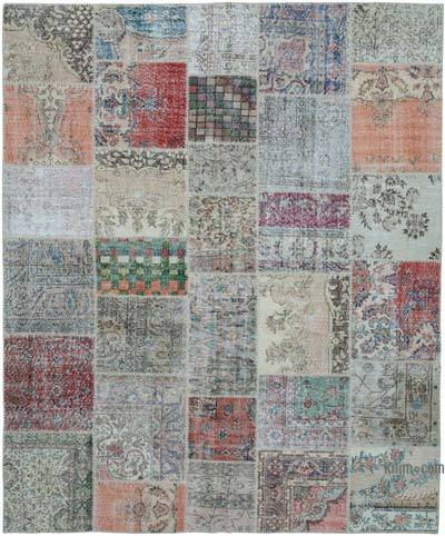 """Patchwork Hand-Knotted Turkish Rug - 8' 2"""" x 9' 11"""" (98 in. x 119 in.)"""