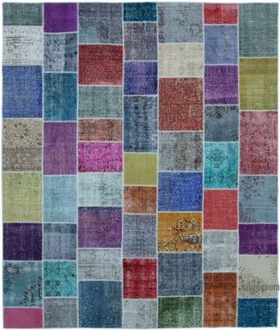 """Hand-knotted Turkish Patchwork Rug - 8' 3"""" x 9' 9"""" (99 in. x 117 in.)"""