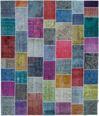 "Hand-knotted Turkish Patchwork Rug - 8' 2"" x 9' 8"" (98 in. x 116 in.)"