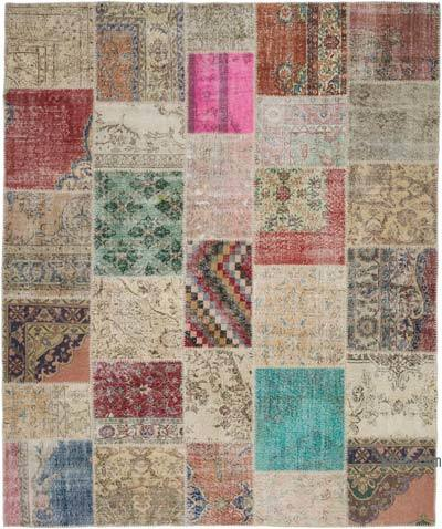 """Hand-knotted Turkish Patchwork Rug - 8' 2"""" x 9' 11"""" (98 in. x 119 in.)"""