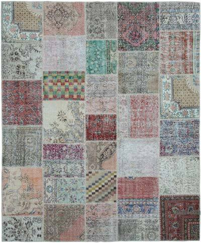 """Patchwork Hand-Knotted Turkish Rug - 8' 1"""" x 9' 10"""" (97 in. x 118 in.)"""