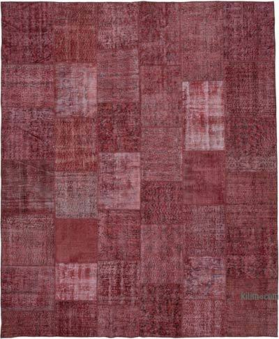 """Red Patchwork Hand-Knotted Turkish Rug - 8' 2"""" x 9' 10"""" (98 in. x 118 in.)"""