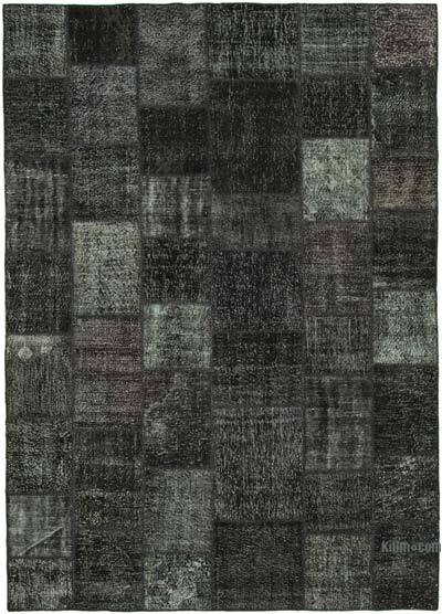 "Black Patchwork Hand-Knotted Turkish Rug - 8' 2"" x 11' 7"" (98 in. x 139 in.)"