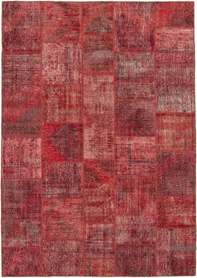 Kırmızı Boyalı Patchwork Halı
