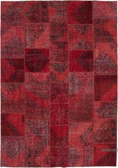 """Red Patchwork Hand-Knotted Turkish Rug - 8' 2"""" x 11' 7"""" (98 in. x 139 in.)"""