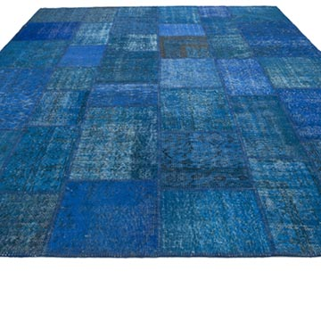 Aqua Patchwork Hand-Knotted Turkish Rug - 8'  x 10'  (96 in. x 120 in.) - K0049960