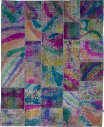 "Multicolor Patchwork Hand-Knotted Turkish Rug - 8' 3"" x 10' 1"" (99 in. x 121 in.)"