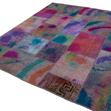 """Multicolor Patchwork Hand-Knotted Turkish Rug - 8' 2"""" x 9' 10"""" (98 in. x 118 in.) - K0049967"""