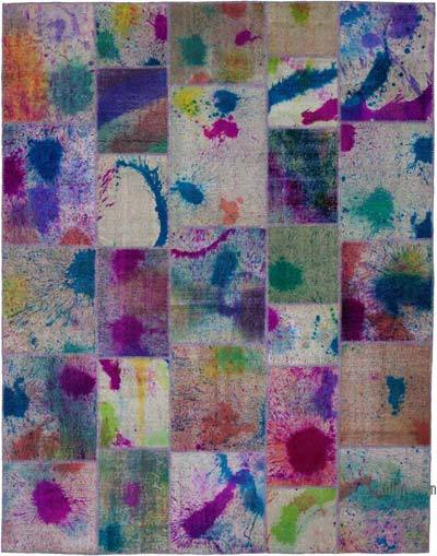 "Hand-knotted Turkish Patchwork Rug - 7' 9"" x 10'  (93 in. x 120 in.)"