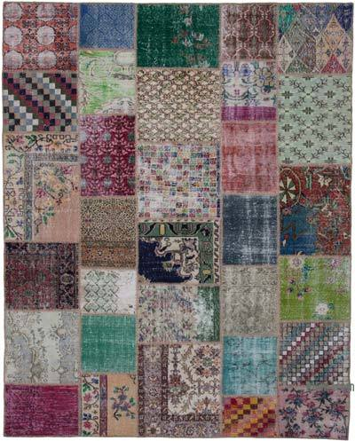 Hand-knotted Turkish Patchwork Rug - 8'  x 10'  (96 in. x 120 in.)