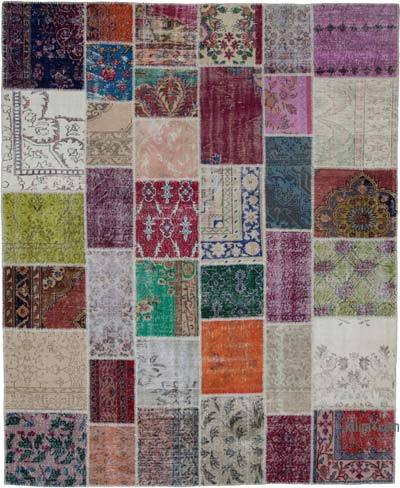 "Hand-knotted Turkish Patchwork Rug - 8'  x 9' 8"" (96 in. x 116 in.)"