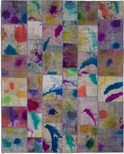 """Hand-knotted Turkish Patchwork Rug - 8' 1"""" x 10' 1"""" (97 in. x 121 in.)"""