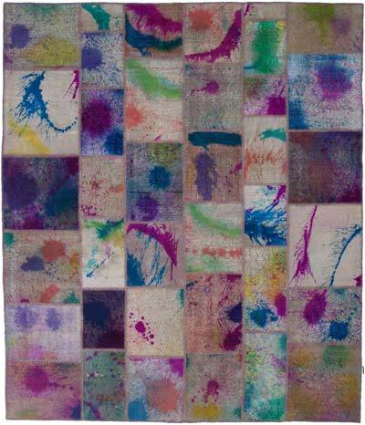"""Hand-knotted Turkish Patchwork Rug - 8' 1"""" x 9' 7"""" (97 in. x 115 in.)"""