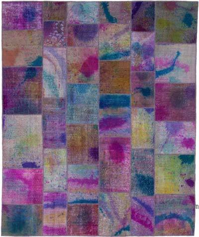 """Hand-knotted Turkish Patchwork Rug - 8' 1"""" x 9' 9"""" (97 in. x 117 in.)"""