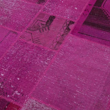 """Pink Patchwork Hand-Knotted Turkish Rug - 8' 2"""" x 9' 11"""" (98 in. x 119 in.) - K0049977"""