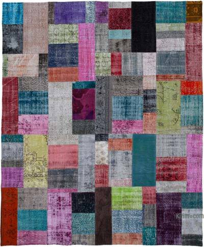 "Hand-knotted Turkish Patchwork Rug - 8' 3"" x 10'  (99 in. x 120 in.)"