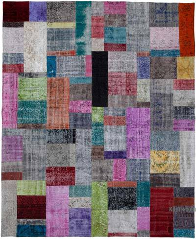 """Patchwork Hand-Knotted Turkish Rug - 8' 3"""" x 9' 11"""" (99 in. x 119 in.)"""