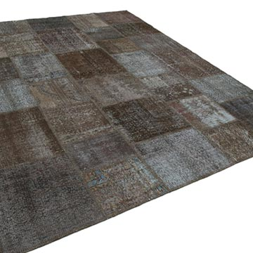 """Brown Patchwork Hand-Knotted Turkish Rug - 7' 10"""" x 10'  (94 in. x 120 in.) - K0050004"""
