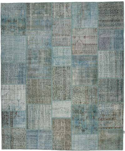 "Blue Patchwork Hand-Knotted Turkish Rug - 8' 2"" x 9' 10"" (98 in. x 118 in.)"