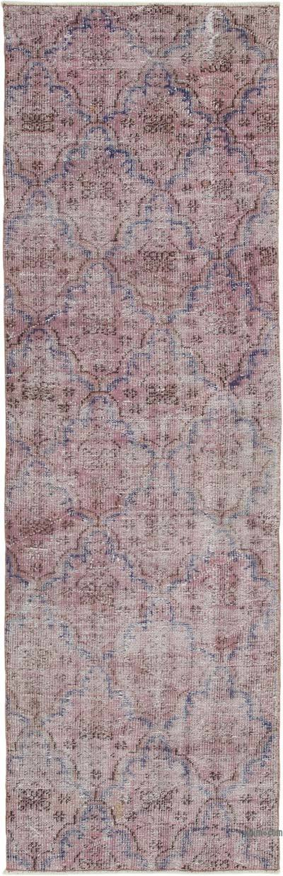 "Pink Over-dyed Turkish Vintage Runner Rug - 2' 9"" x 8' 6"" (33 in. x 102 in.)"