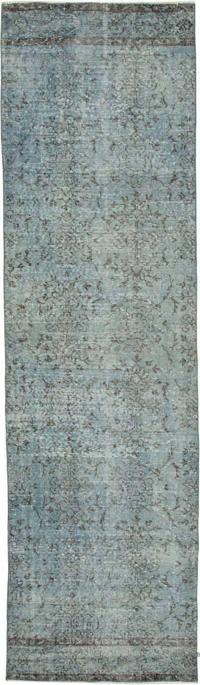 "Blue Over-dyed Turkish Vintage Runner Rug - 2' 10"" x 10'  (34 in. x 120 in.)"