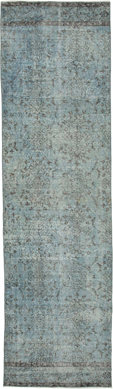 "Blue Over-dyed Turkish Vintage Runner Rug - 2' 10"" x 10'  (34 in. x 120 in.) - K0050044"