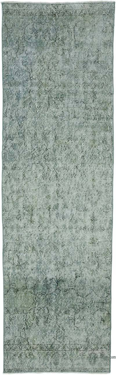 """Grey Over-dyed Turkish Vintage Runner Rug - 2' 8"""" x 8' 11"""" (32 in. x 107 in.)"""