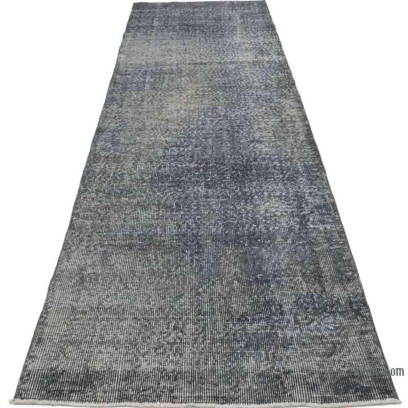 "Grey Over-dyed Turkish Vintage Runner Rug - 2' 8"" x 10'  (32 in. x 120 in.) - K0050090"