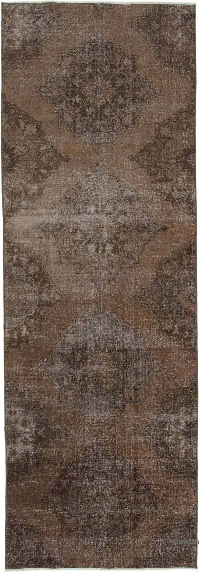 "Brown Over-dyed Turkish Vintage Runner Rug - 3' 3"" x 9' 6"" (39 in. x 114 in.)"