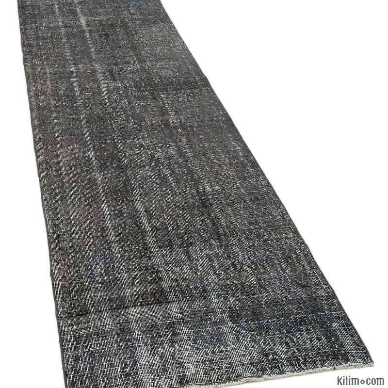 "Grey Over-dyed Turkish Vintage Runner Rug - 2' 7"" x 9' 5"" (31 in. x 113 in.) - K0050115"