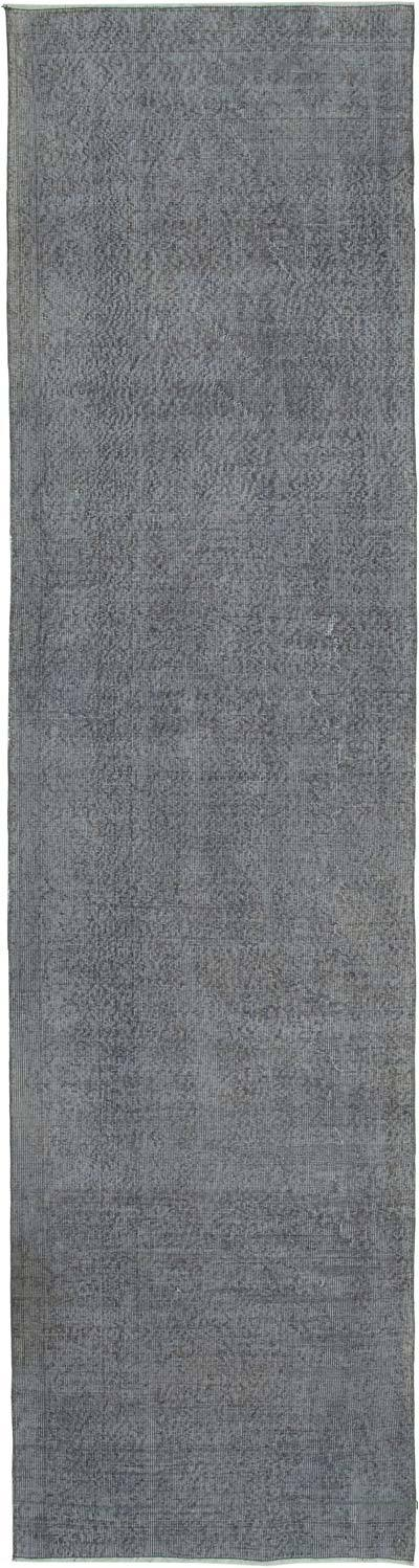 """Grey Over-dyed Turkish Vintage Runner Rug - 3' 3"""" x 12'  (39 in. x 144 in.)"""