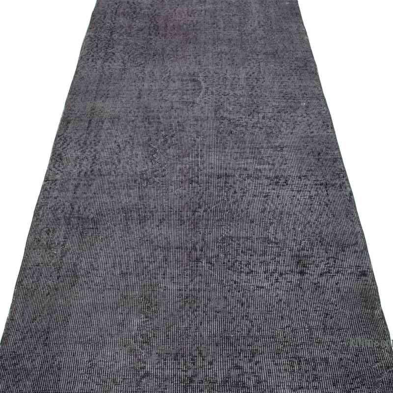 Siyah, Gri Boyalı El Dokuma Vintage Halı Yolluk - 92 cm x 393 cm - K0050164
