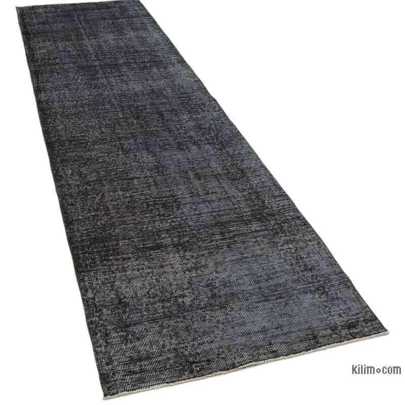 "Black Over-dyed Turkish Vintage Runner Rug - 3' 1"" x 10' 8"" (37 in. x 128 in.) - K0050166"