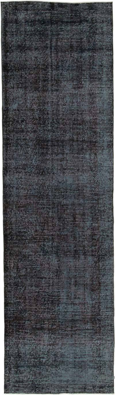 "Black Over-dyed Turkish Vintage Runner Rug - 3' 1"" x 10' 8"" (37 in. x 128 in.)"