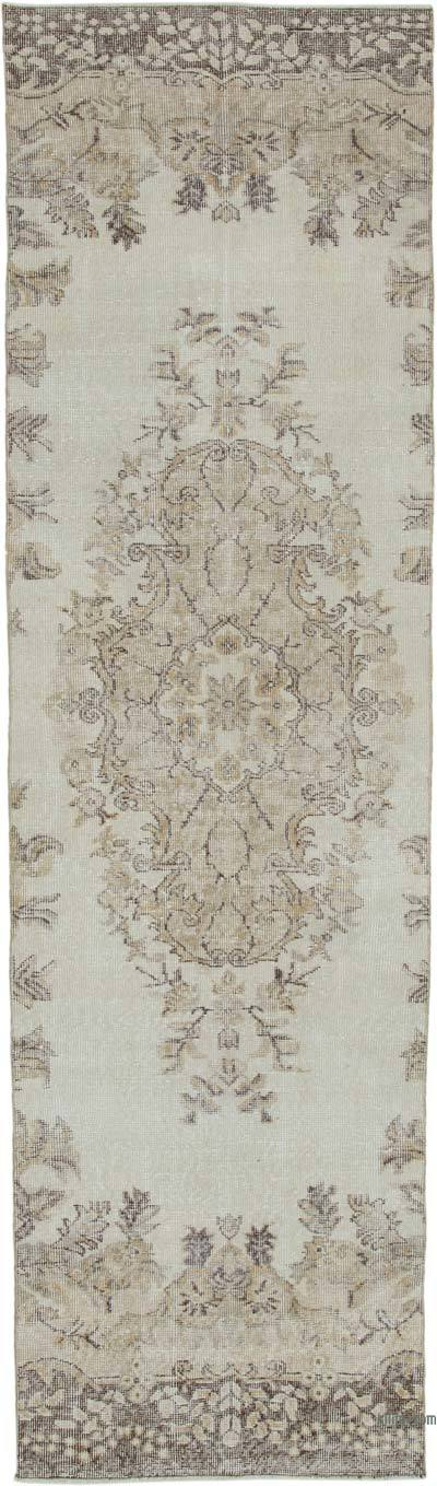 "Beige Over-dyed Turkish Vintage Runner Rug - 3'  x 10' 6"" (36 in. x 126 in.)"