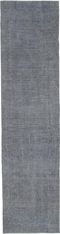 Grey Over-dyed Turkish Vintage Runner Rug - 3'  x 12'  (36 in. x 144 in.) - K0050210