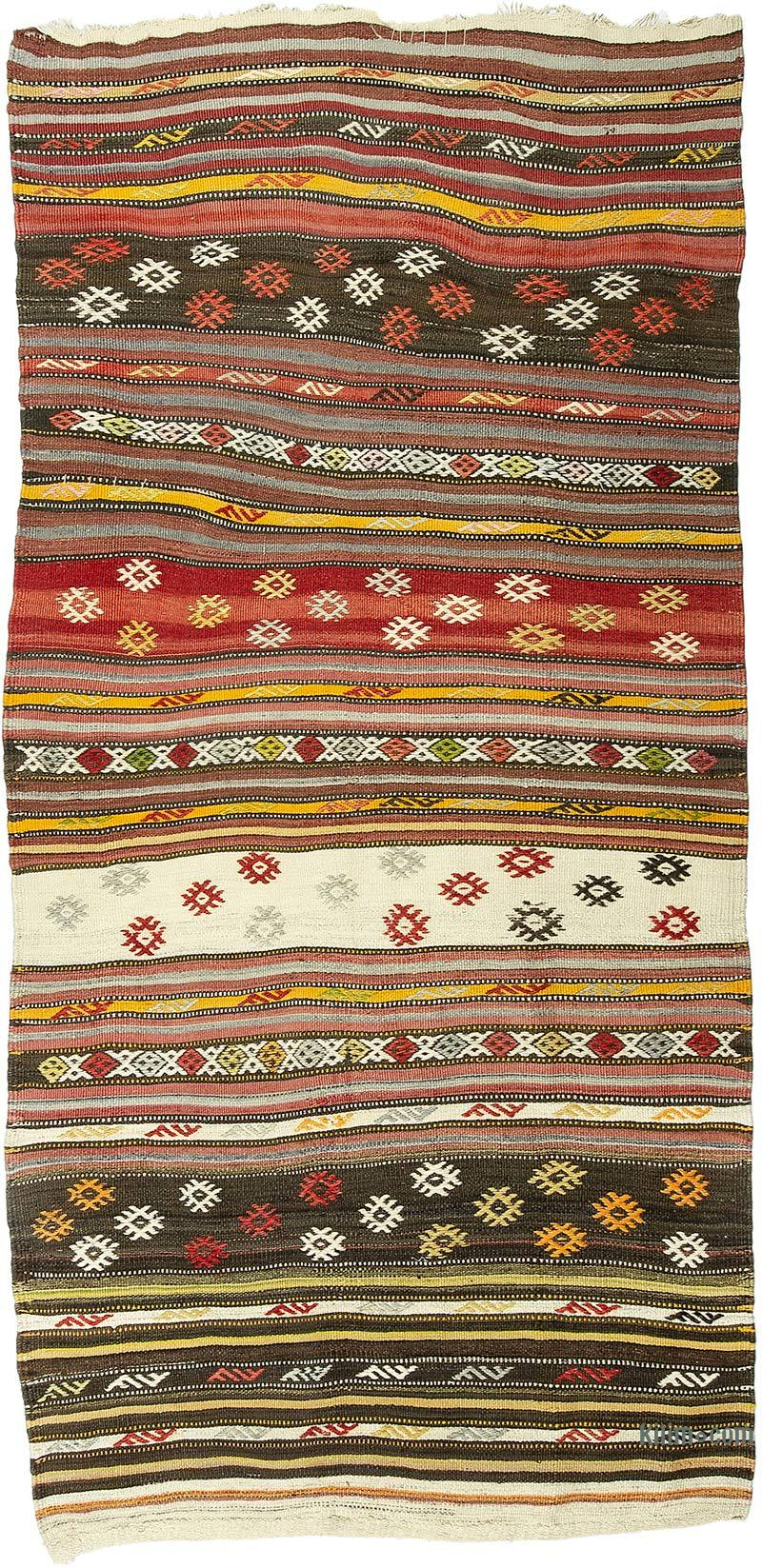 """Vintage Antalya Kilim Rug - 3' 3"""" x 6' 11"""" (39 in. x 83 in.) - K0050270"""