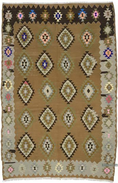 """Vintage Balikesir Kilim Rug - 6' 4"""" x 9' 10"""" (76 in. x 118 in.)"""