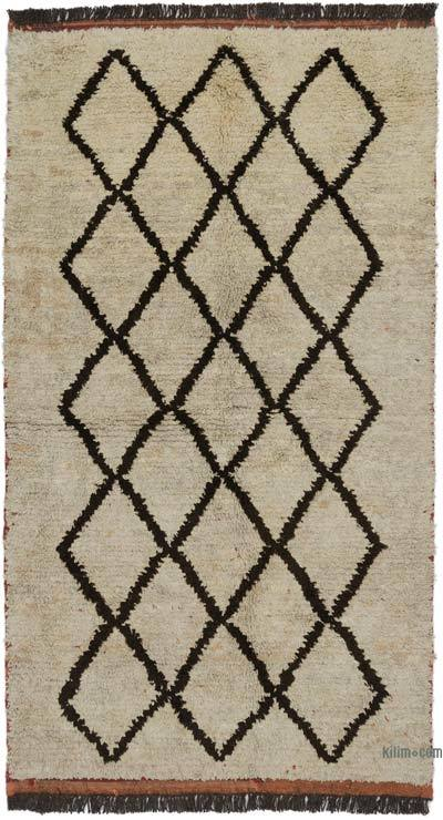 "Beige, Brown New Turkish Tulu Rug - 4' 3"" x 7' 9"" (51 in. x 93 in.)"