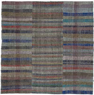 "Vintage Turkish Pala Kilim (Chaput) - 8' 1"" x 8' 1"" (97 in. x 97 in.)"