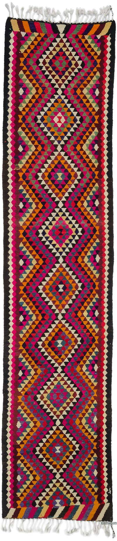 "Vintage Turkish Kilim Runner - 3' 1"" x 13' 7"" (37 in. x 163 in.)"