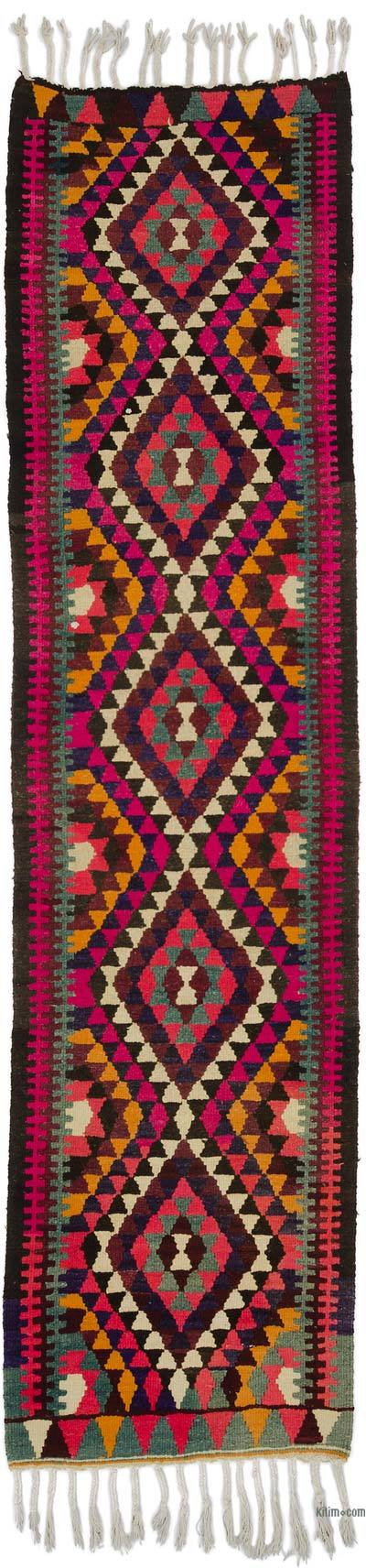 "Vintage Turkish Kilim Runner - 2' 9"" x 11'  (33 in. x 132 in.)"