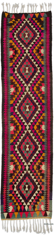 Multicolor Vintage Turkish Kilim Runner - 2' 9# x 11'  (33 in. x 132 in.) - K0050403